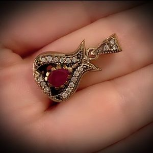 FINE RUBY NECKLACE PENDANT Solid 925 Silver/Gold